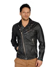 Lapel Collared Side Pocket Leather Jacket for Men