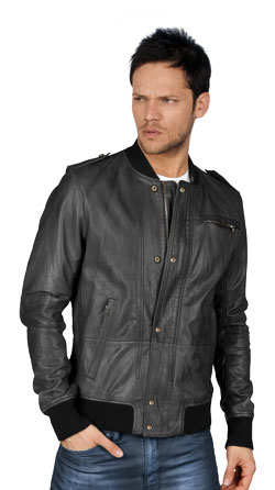 Zip and Stud Buttoned Styled Leather Mens Jacket