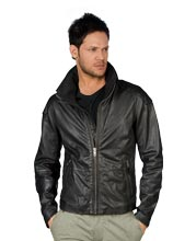 Punk Style Front Zip Mens Leather Jacket