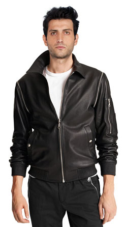 Leather Jacket with Zip-Detachable Sleeves