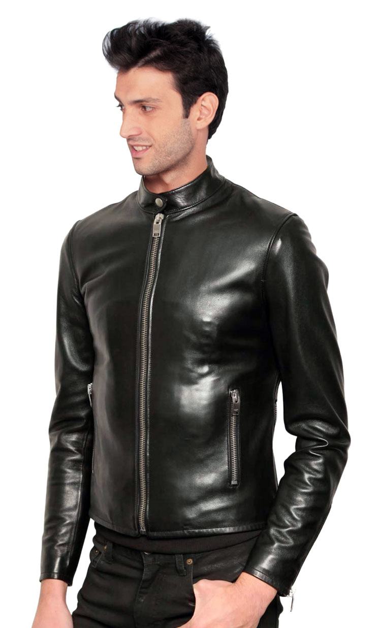 Buy slim and sleek leather jacket for men online