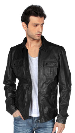 Mens Leather Jacket with Chic Side-Zip Pockets