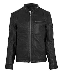 Snapping Neck-strap Patterned Mens Leather Jacket