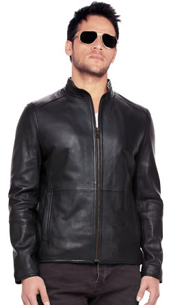 Mens Leather Jacket with Front Slash Pockets