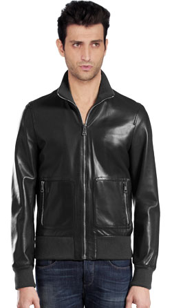 Knit Collar Mens Leather Jacket