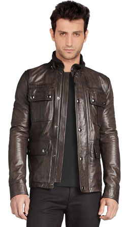 Buckled stand collar type leather jacket