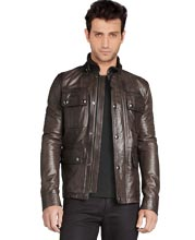 buckled-stand-collar-type-leather-jacket