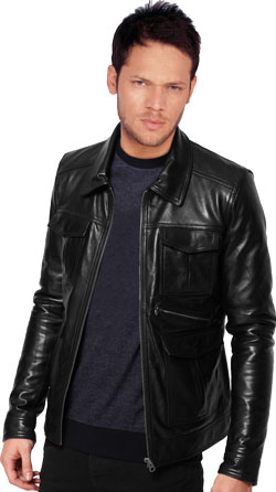 Shirt collared super cool leather jacket
