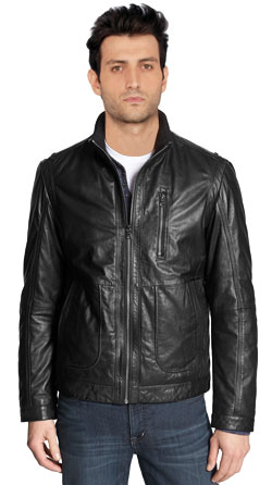 Gutsy and tough Stand collar leather jacket