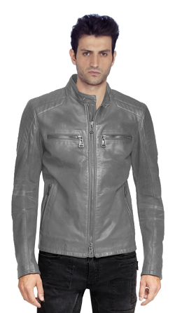 Mens Lambskin Leather Biker Jacket with a Stand Collar