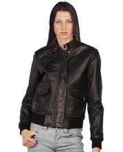 Snap Button Urban Womens Leather Jacket