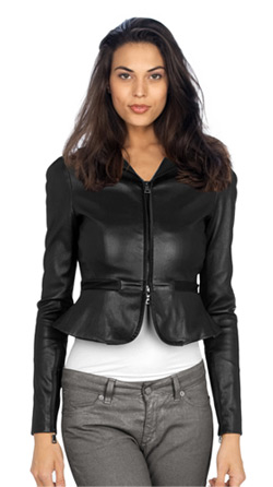 Formal Mini-frilled Leather Jacket