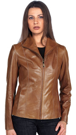 Wing Tip Collared Leather Jacket