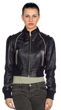 Versatile and lined detailed leather jacket