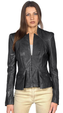 Athletic and agile look leather jacket with body fit