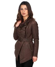 Waist Length Fastened Leather Jacket