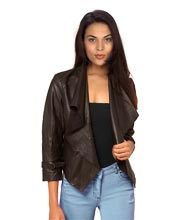 Peppy Waterfall Collared Leather Jacket