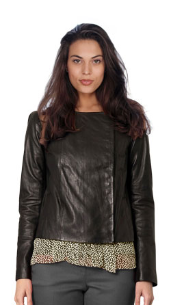 Collarless Box-cut Leather Jacket for Women