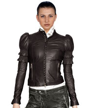 Front Button Patterned Womens Leather jacket