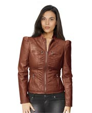 Womens Leather Jacket with front Zipped Pocket