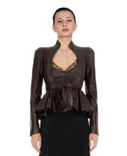 Waist Peplum Detailed Leather Jacket for Women