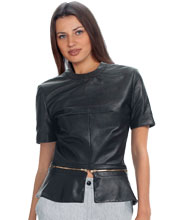 Designer Styled Leather Peplum Top with Short Sleeves