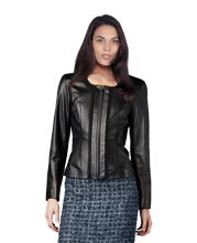 Elegant and Chic Leather and Fabric Jacket