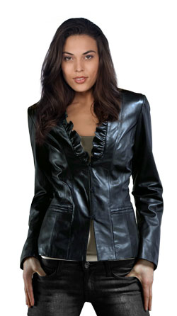 Chic Frilly Collared Leather Jacket