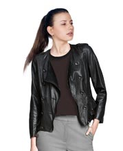 Playful Ruffle Detailed Leather Jacket