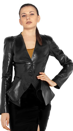 Flirty Leather Jacket with Folded Front