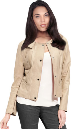Playful Leather Jacket with Snap-off Collar