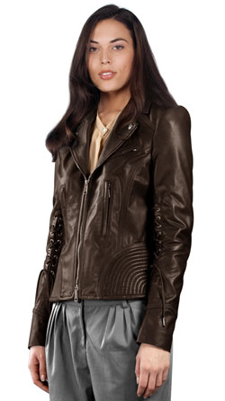 Ribbed Leather Jacket with Notched Lapel