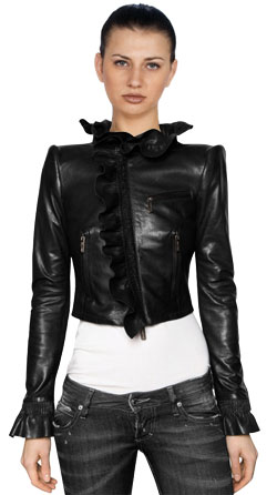 Frisky & Ruffled Short Leather Jacket