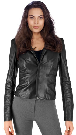 Venturous Leather Jacket with Spread Collar