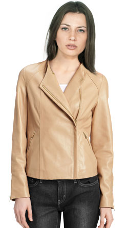 Asymmetric Leather Jacket with Spread Collar
