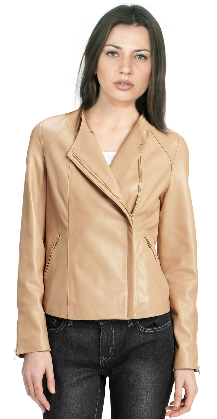 Shop for asymmetric leather jacket with spread collar online