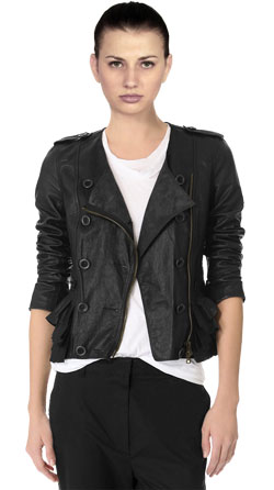 Trendy Ruffle Hem Leather Jacket
