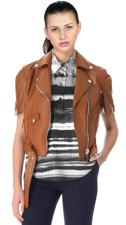 Biker Cropped Leather Biker Jacket