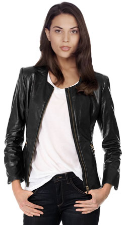 Collarless Ribbed Leather Moto Jacket