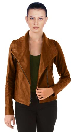 Hip Portrait Collar Leather jacket
