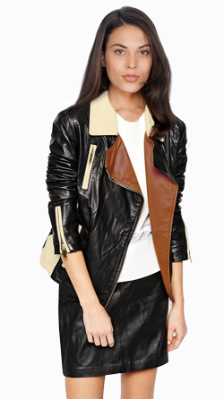 Womens Lambskin Biker JacKet With Notch Lapel Collar and Multi Toned Style