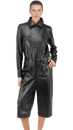 Full-Sleeves Leather Jumpsuit for Women