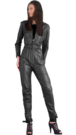 Full zipper leather jumpsuit for women with stand-up collar