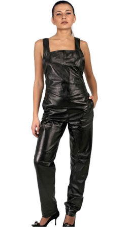 Stylish Wide Strapped Leather Jumpsuit for women