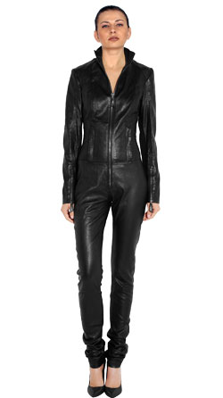 Business Pattern Full Hand Lambskin Leather Jumpsuit