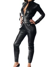 Trendy Deep Neckline Studded Waist Leather Jumpsuit