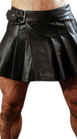 Mini Wrap-Around Leather Kilt for Men