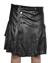 Ample Pleated Leather Kilt for Men