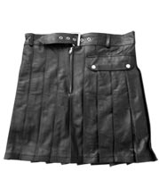 Side Pocket Leather Pleated Kilt for Men