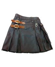 Cool and Macho Pleated Leather Kilt